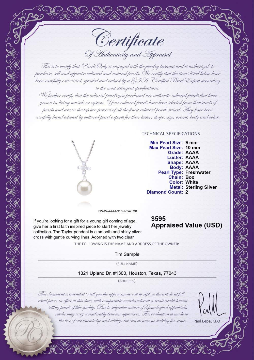 Taylor White 9-10mm AAAA Quality Freshwater 925 Sterling Silver Cultured Pearl Pendant For Women by PearlsOnly (Image #4)
