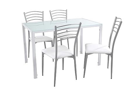 Woopi Lote de Mesa de Cocina Kiev + 4 sillas Paris Blancas