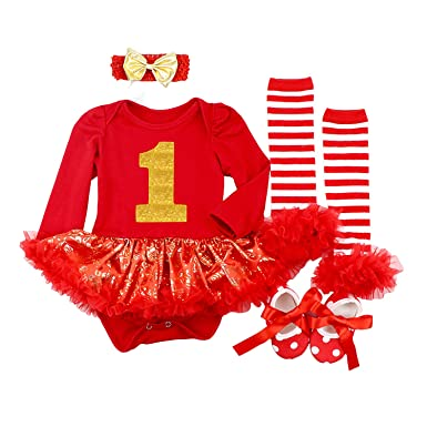 d4132737e871 Amazon.com: BabyPreg Baby Girls My First Christmas Santa Costume Party Dress  4PCS: Clothing
