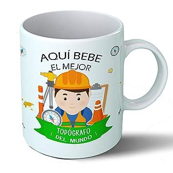 Planetacase Taza Desayuno Aquí Bebe el Mejor topógrafo del Mundo Regalo Original topografía Ceramica 330 ML: Amazon.es: Hogar