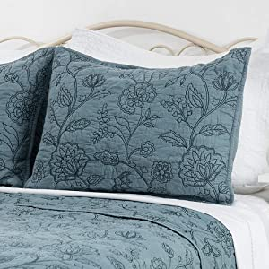 ELEGANT LIFE HOME 100% Cotton Night Blossom Embroidery Pillow Shams Pillowcase, Luxury Floral Pattern Pillow Covers, King Size, 20'' x 36'' + 0.5'' Flange, Park Blue