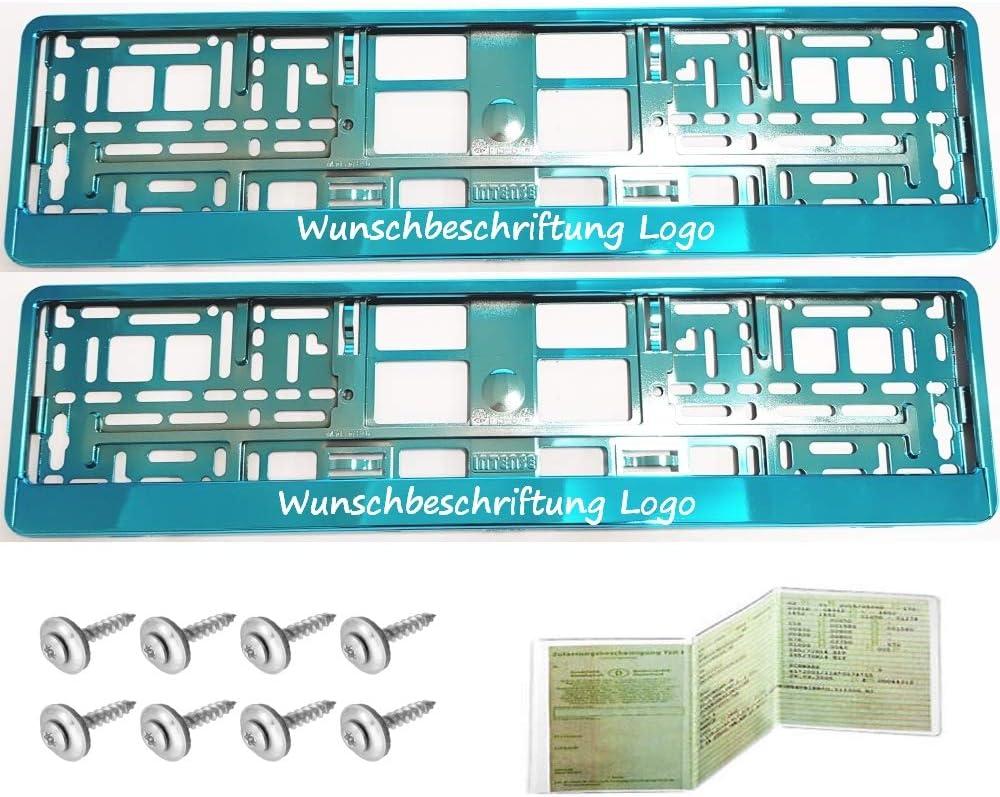 2 St/ück Kennzeichenhalter T/ÜRKIS CHROM mit WUNSCHTEXT Beschriftung Werbung BEDRUCKT Neu