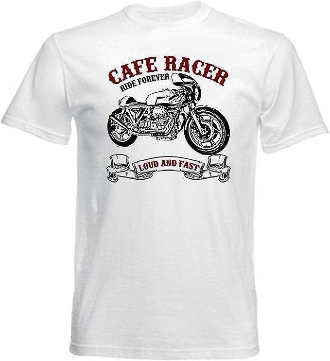 TEESANDENGINES Moto Guzzi Cafe Racer 1000 Camiseta Blanca para Hombre de Algodon: Amazon.es: Ropa y accesorios