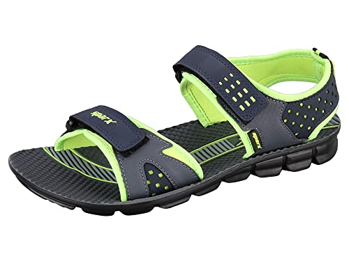 27431281e7fdfc Sparx Mens Blue Fluorescent Green Colour SS908 Series Synthetic Casual  Sandals 10UK  Amazon.in  Shoes   Handbags