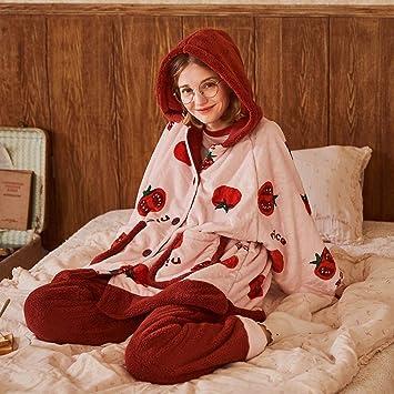WANG-LONG Ropa De Dormir Batas Mujer Conjunto De Pijamas Camisones Ropa De Noche Señoras Invierno Franela Vellón De Coral con Capucha Engrosado Tomate ...