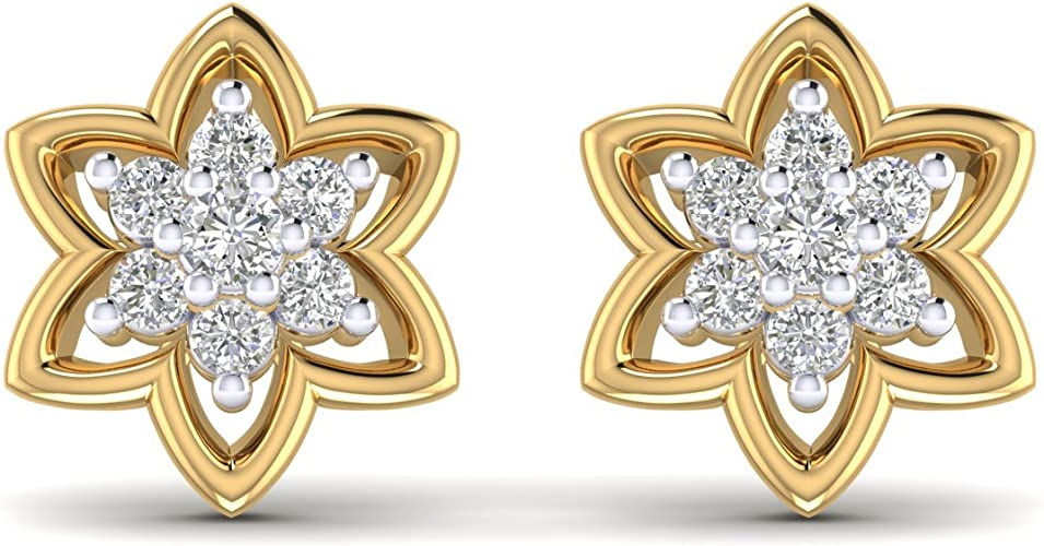 14K Yellow Gold Plated Round AAA Cubic Zirconia Mini Solitaire Stud Earrings For Women Summer Sale