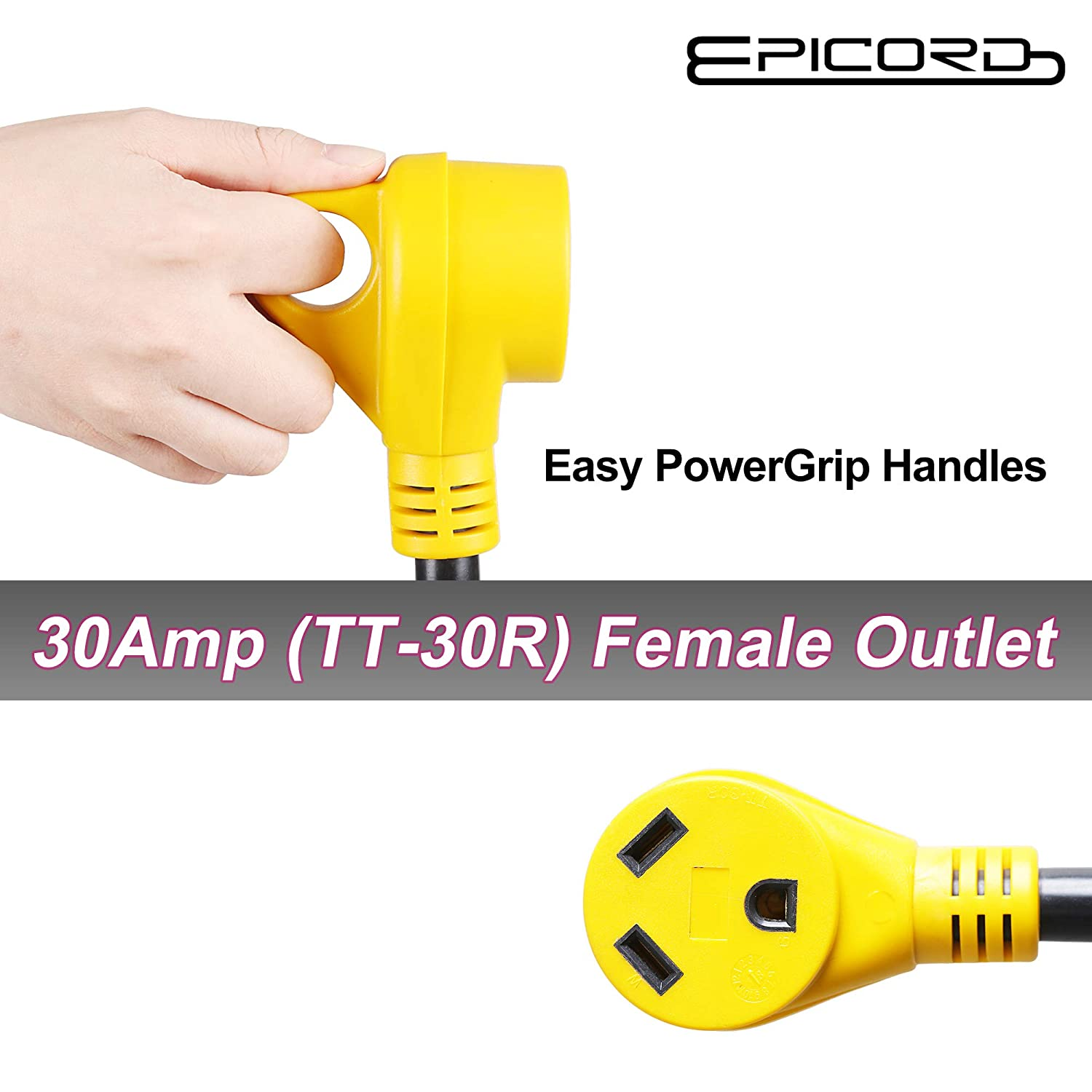 Epicord Dogbone Rv Power Y Adatper Cord 10 3awg With 50 Amp Male Outlet Plug To