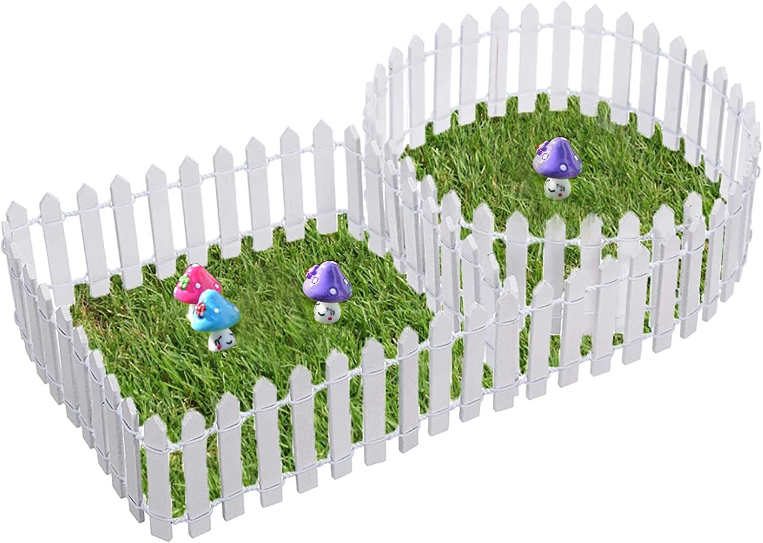2 Pack OBPSFY 90cm Wood Fence White Miniature Picket Decorative Fences Fairy Garden Home Ornament Micro Landscaping DIY Accessories