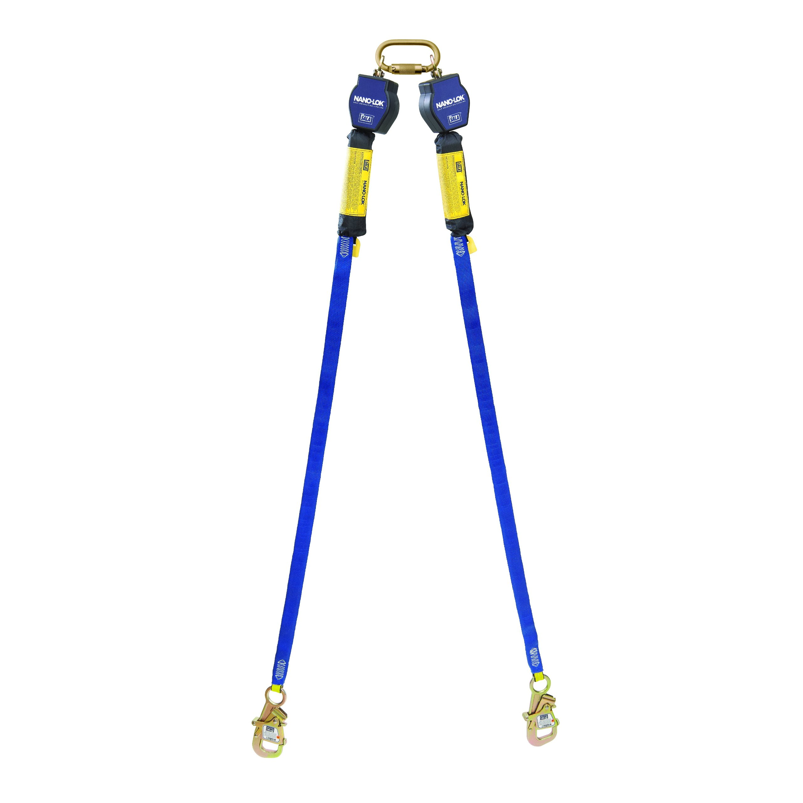 3M DBI-SALA Nano-Lok 3101373 Self Retracting Lifeline, 9', 3/4'' Dynema Polyester Web, Tie-Back Hook, Quick Connector For Fixed D-Ring Harness Mounting, Blue