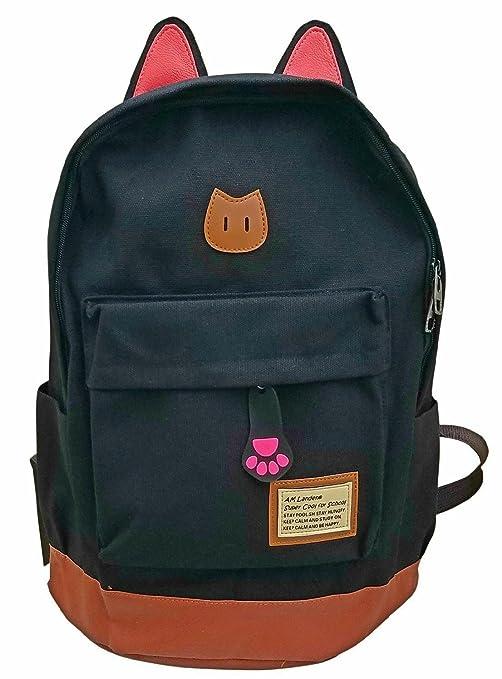4c3fe208bd32 ... AM Landen CAT Ears Backpack Kid Backpack Travel Daypack Handbag  LARGE SMALL (Large-improved quality with Tablet slot