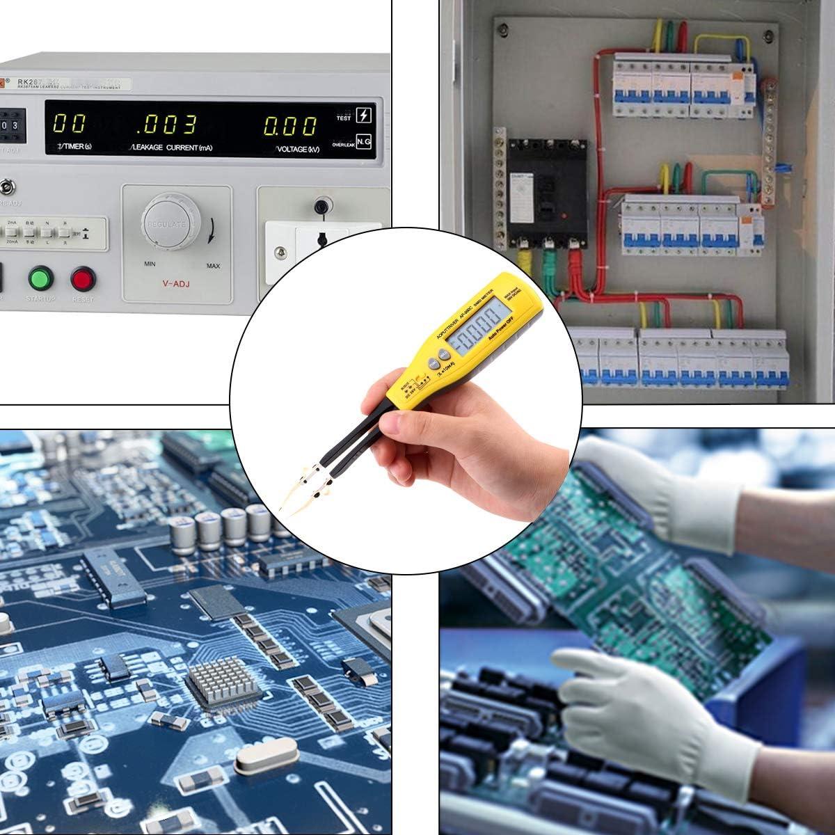 Tension avec Test de Diode//Sonnerie de Continuit/é//Arr/êt Auto Smart SMD Testeur Num/érique AP-990C Multim/ètre Testeur Pince Clips de Test Intelligents Affichage 5999 Points pour Capacitance,R/ésistance