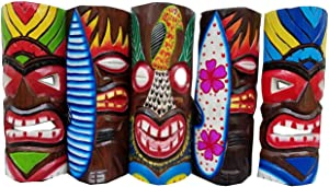 "All Seas Imports Set of (5) Vibrant Wooden Handcarved 12"" Tall Tiki Masks Tropical Wall Decor!"