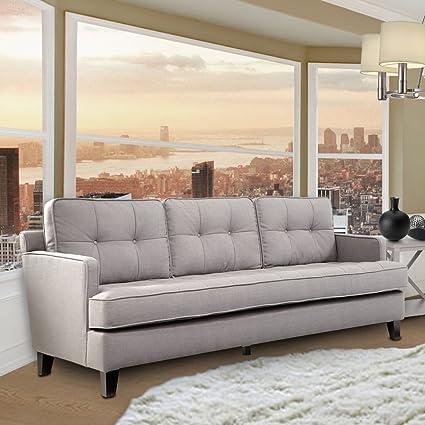 Armen Living Eden Sofa, Cement Gray Fabric