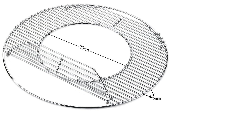 5 cm mit Loch /& Klappe Inklusive Handgriffe für 45 46 47 cm Kugelgrill HeRo24 Hero Edelstahl Grillrost 44