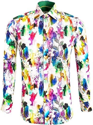 Claudio Lugli Splash Floral Print - Camisa para hombre: Amazon.es: Ropa y accesorios