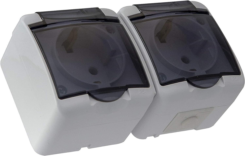 prodotta in UE. a 1 o 2 o 3 prese in vetro Presa Schuko per ambienti umidi IP54 con copertura per fumo