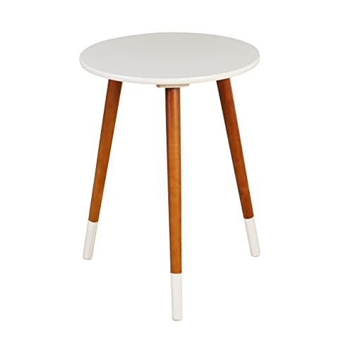 Target Marketing Systems Livia Collection Ultra Modern Round End Table With Splayed Leg Finish, White Wood