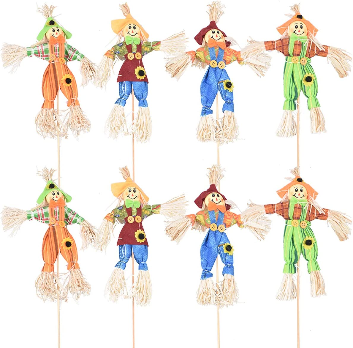 Halloween Fall Harvest Scarecrow Decoration, 8 Pack Small Standing Scarecrow Decor for Autumn, Halloween, Garden, Home, Yard, Porch, Thanksgiving Décor