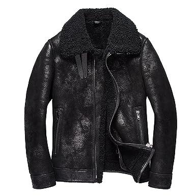3fbf09178f57 Mens Shearling Coat Mens Fur Coat Black Crack Texture Pilot Leather Jacket ( Black