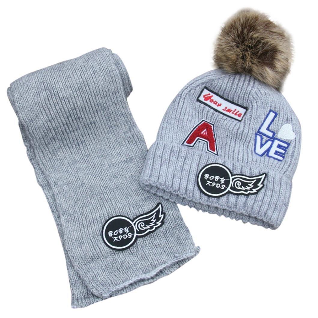 ベビースカーフ帽子、男の子todaies冬暖かい帽子子供ニットボール帽子女の子スカーフセット B076RS1MCX 1PC グレー グレー 1PC