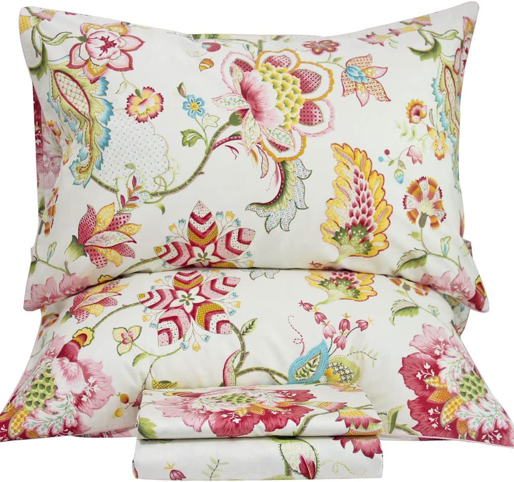 Queen's House Sheets Boho Lotus Print Bed Sheet Sets King Size-G