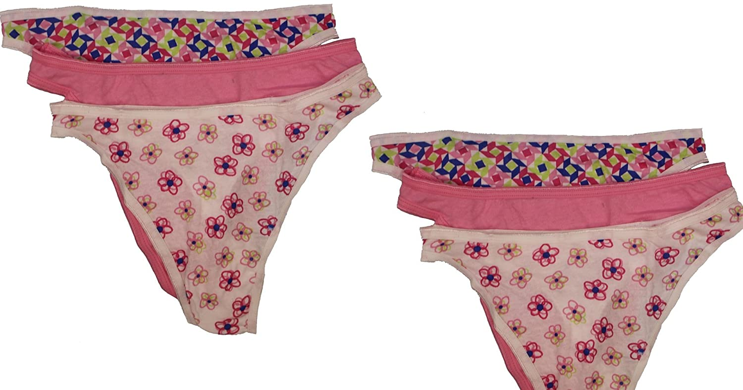 8ccc1a9b2f3b Fruit of the Loom Women 100% Cotton Thongs, Print & Color May Vary  (7(Large), Multi 6-Pack) at Amazon Women's Clothing store: