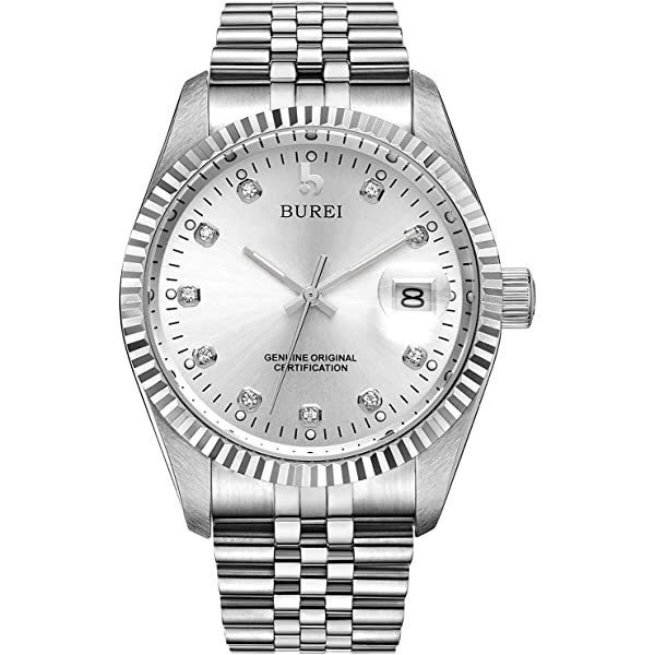 BUREI Men's Luxury Silver Automatic Watch with Sapphire
