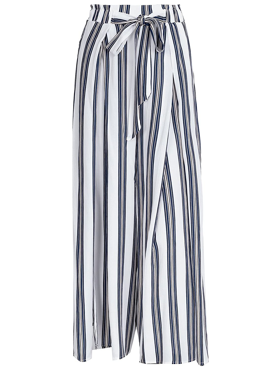 1930s Wide Leg Pants and Beach Pajamas Simplee Womens Elegant Striped Split High Waisted Belted Flowy Wide Leg Pants $22.99 AT vintagedancer.com