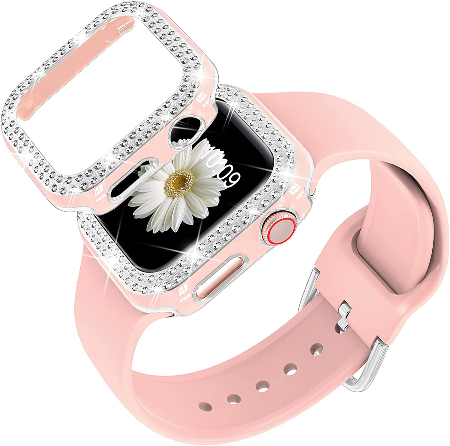 DABAOZA Compatible for Apple Watch Band 38mm 42mm with Glitter Bumper Case, Women Silicone Soft Comfortable Adjustable Strap with Buckle for iWatch Series 3/2/1
