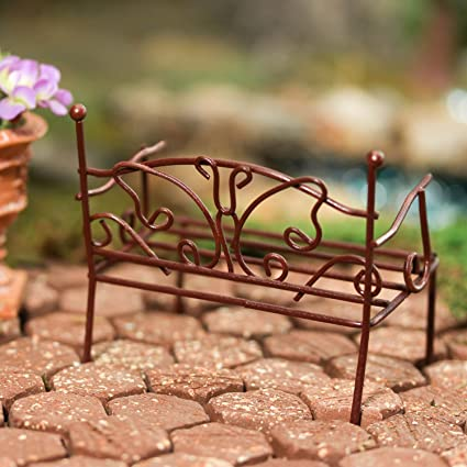 Incredible Amazon Com Pair Of Rustic Metal Miniature Garden Benches Ibusinesslaw Wood Chair Design Ideas Ibusinesslaworg