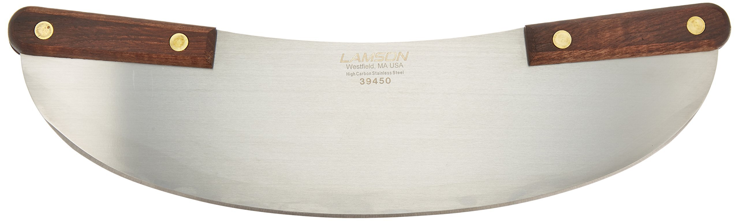 Lamson Pizza Rocker Knife, 13'', Stainless Steel with Riveted Walnut Handle by Lamson