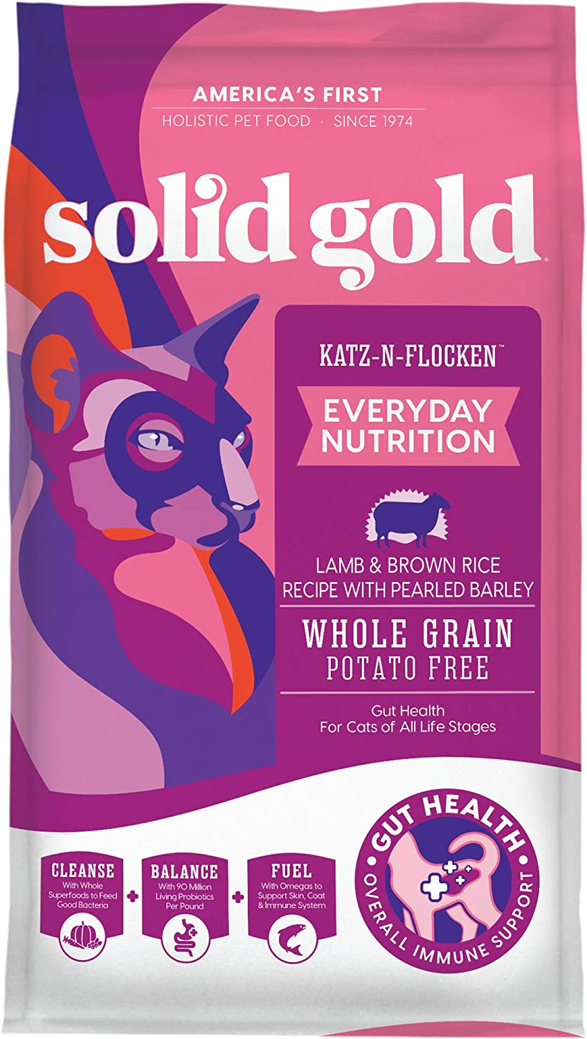 4. Solid Gold Katz-N-Flocken Real Lamb and Brown Rice Dry Cat Food