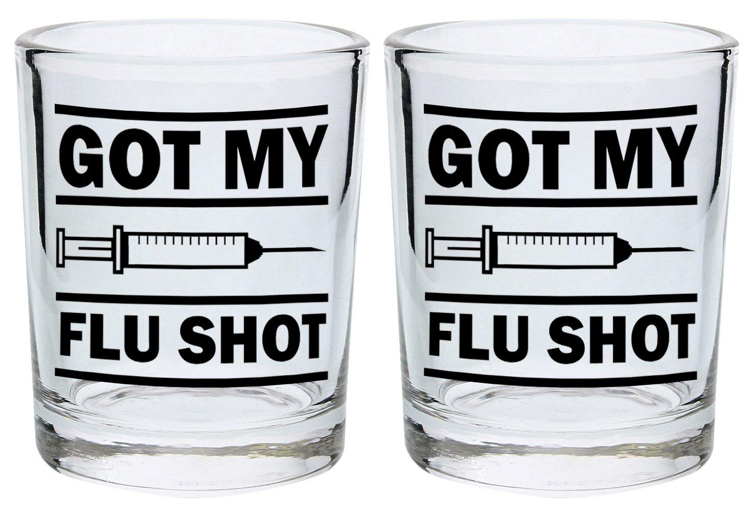 Funny Shot Glasses for College Got My Flu Shot Drinking Games Shot Glass Gift Shot Glasses 2-Pack Round Shot Glass Set Black