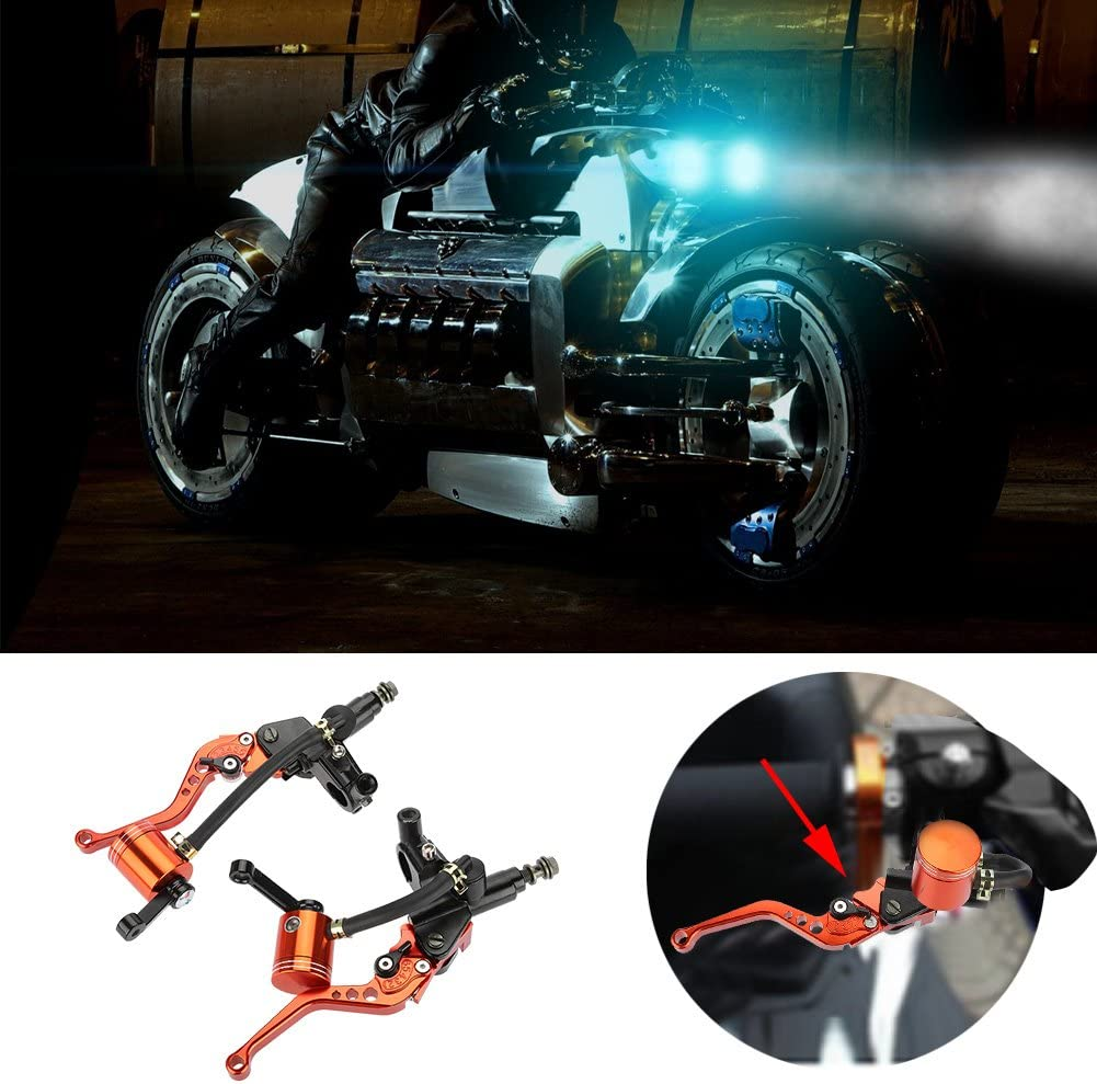 Akozon Hydraulische Bremspumpe Paar 22mm CNC Motorrad Kupplungsgeberzylinder Hebel Einstellbar Orange