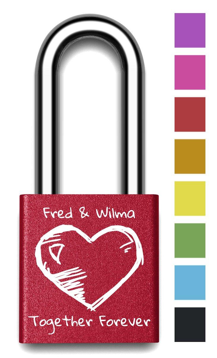 Customizable MakeLoveLocks - Heart & Keys Love Lock 2'' Red by MakeLoveLocks