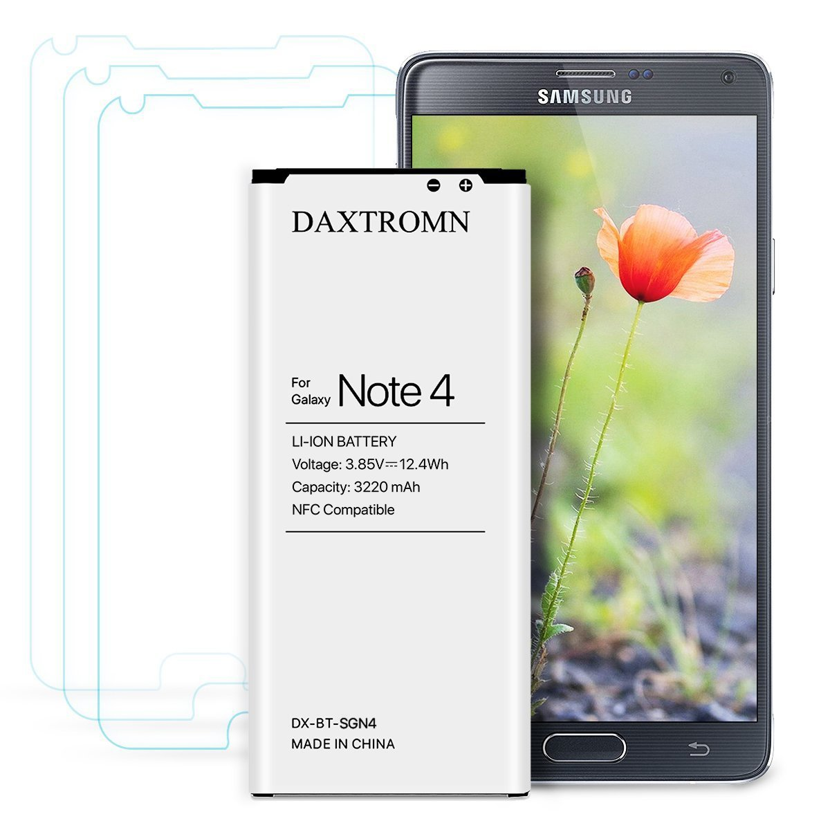 caed1eb5481 Note 4 Battery, DAXTROMN 3220 mAh Replacement Battery for Samsung Galaxy  Note 4 N910, N910U 4G LTE, N910V, N910T, N910A, N910P with Screen Protector  ...