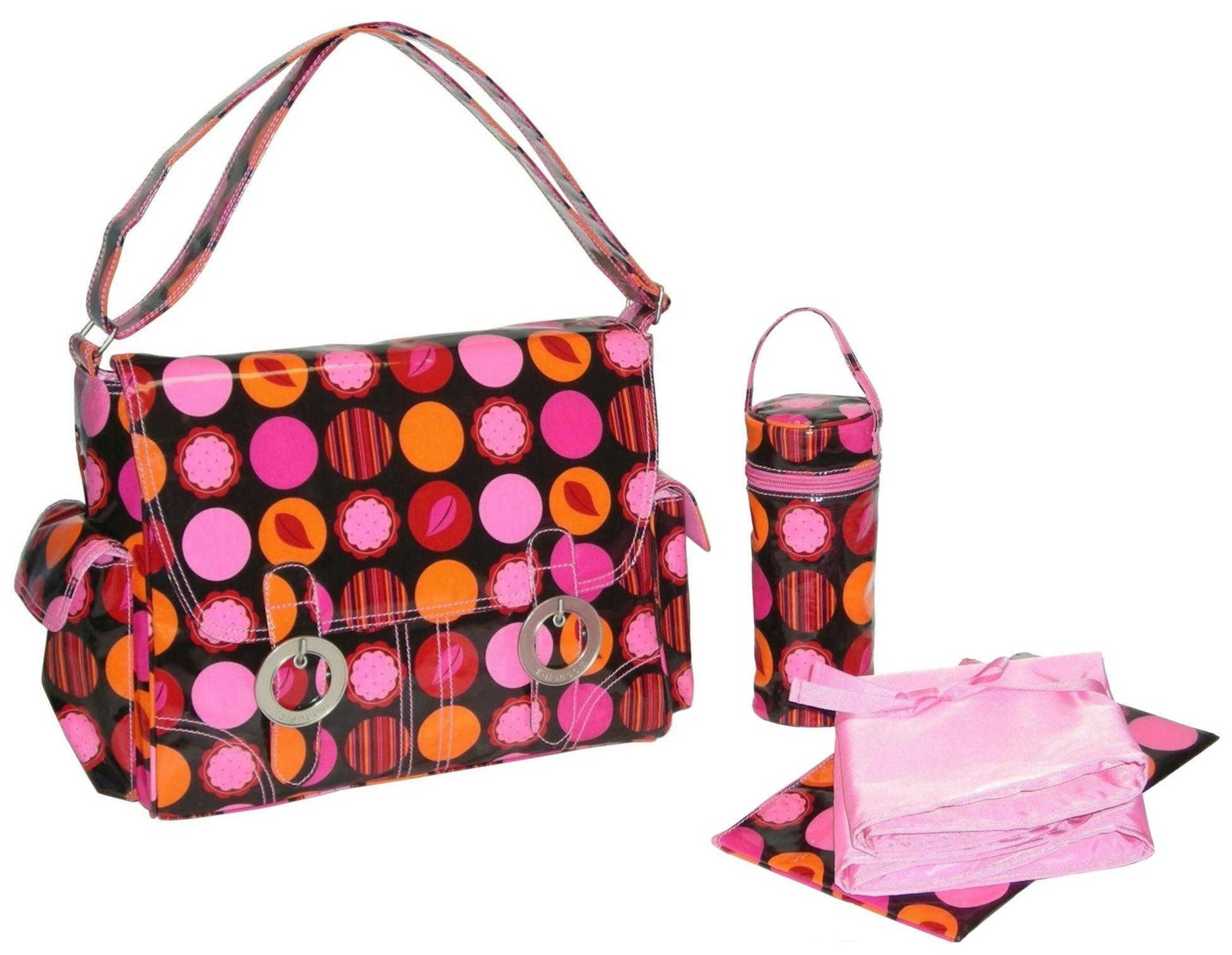 Kalencom Coated Double Buckle Bag, Mod Dots Fire