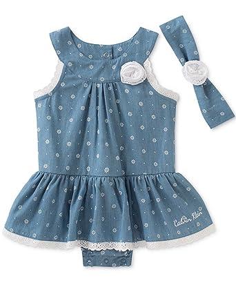4230c7e9bfd Calvin Klein Baby Girls  2-Piece Floral-Print Denim Romper Dress   Headband