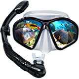 Powsure Kids Snorkel Set, Dry Top Snorkel with Swim Mask, Anti-Leak Snorkeling Package of Anti-Fog Tempered Glass Diving…