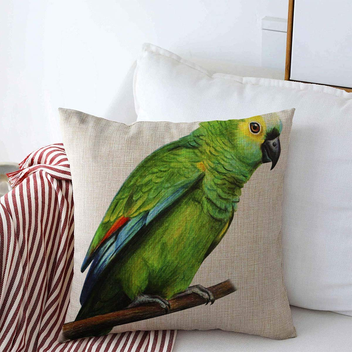 Starojan Throw Pillows Cover 18 x 18 Inches Red Popular Bolivia Green Knows Parrot Drawing Amazona Animals Wildlife Blue Spot Realistic Amazonian Cushion Case Cotton Linen for Fall Home Decor
