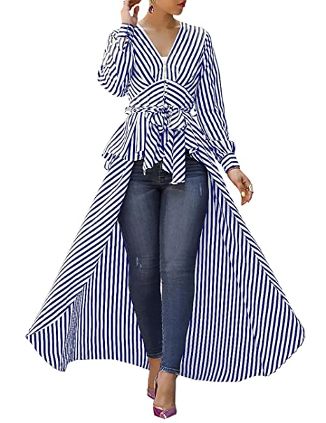 6166a0d3bc Ninimour Women V-Neck Striped Tie Up Shirt High Low Dip Hem Long Sleeve  Blouse