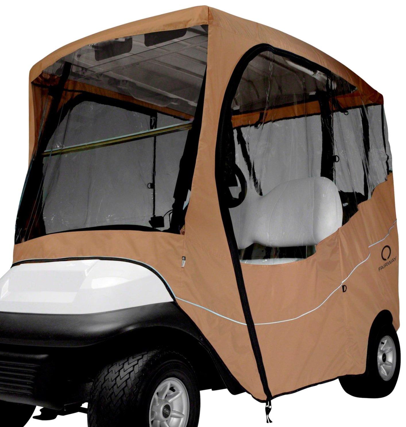 Classic Accessories Fairway Golf Cart Travel Enclosure, Khaki, Long Roof