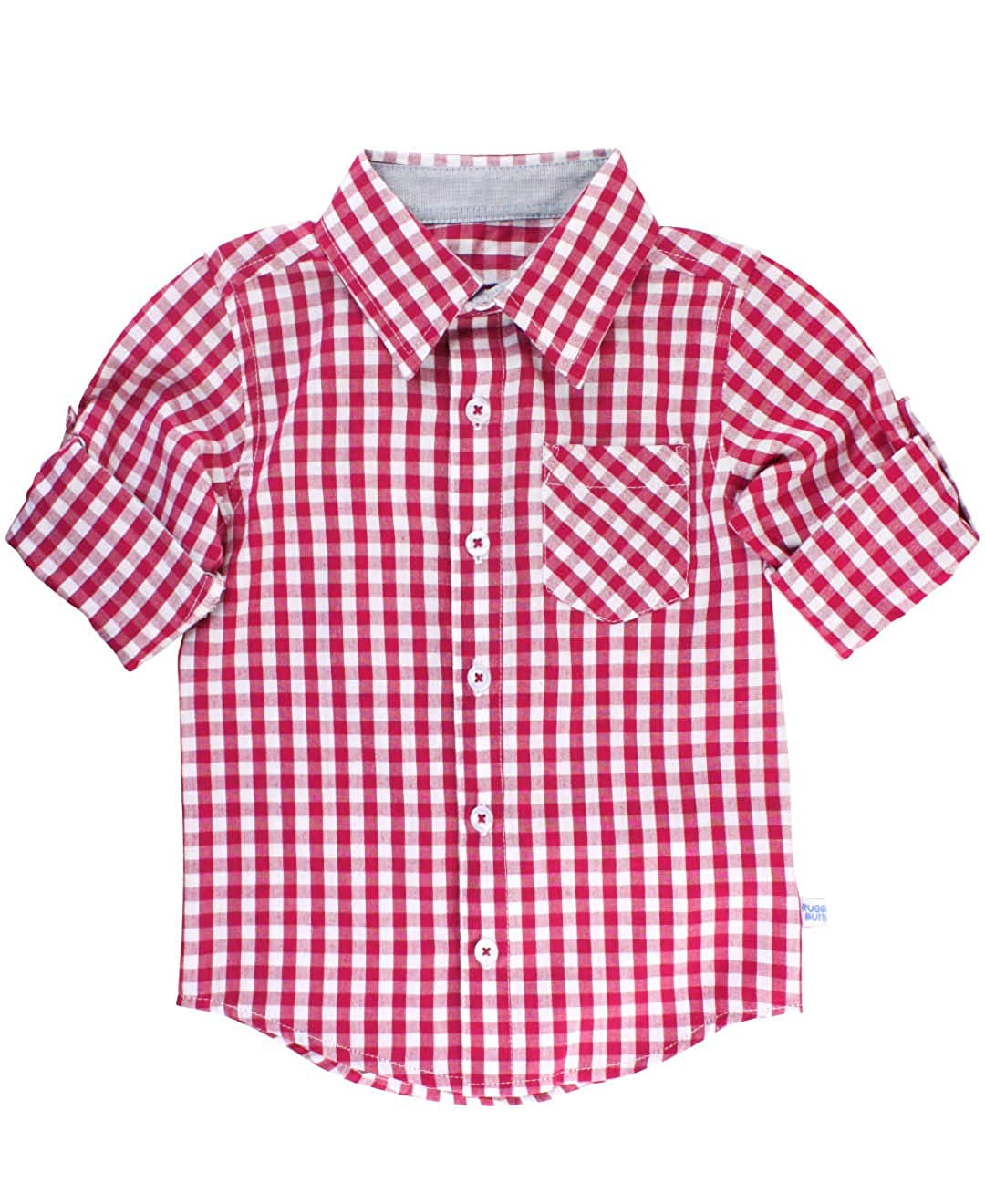 RuggedButts Baby//Toddler Boys Gingham Plaid Long Sleeve Button Down Shirt with Button Tabs