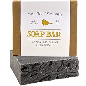 Dead Sea Mud Soap Bar - With Exfoliating Pumice Scrub & Detoxifying Charcoal. Organic & Natural Essential Oils. Handmade in USA for Men and Women. Face, Hand, Body Soap