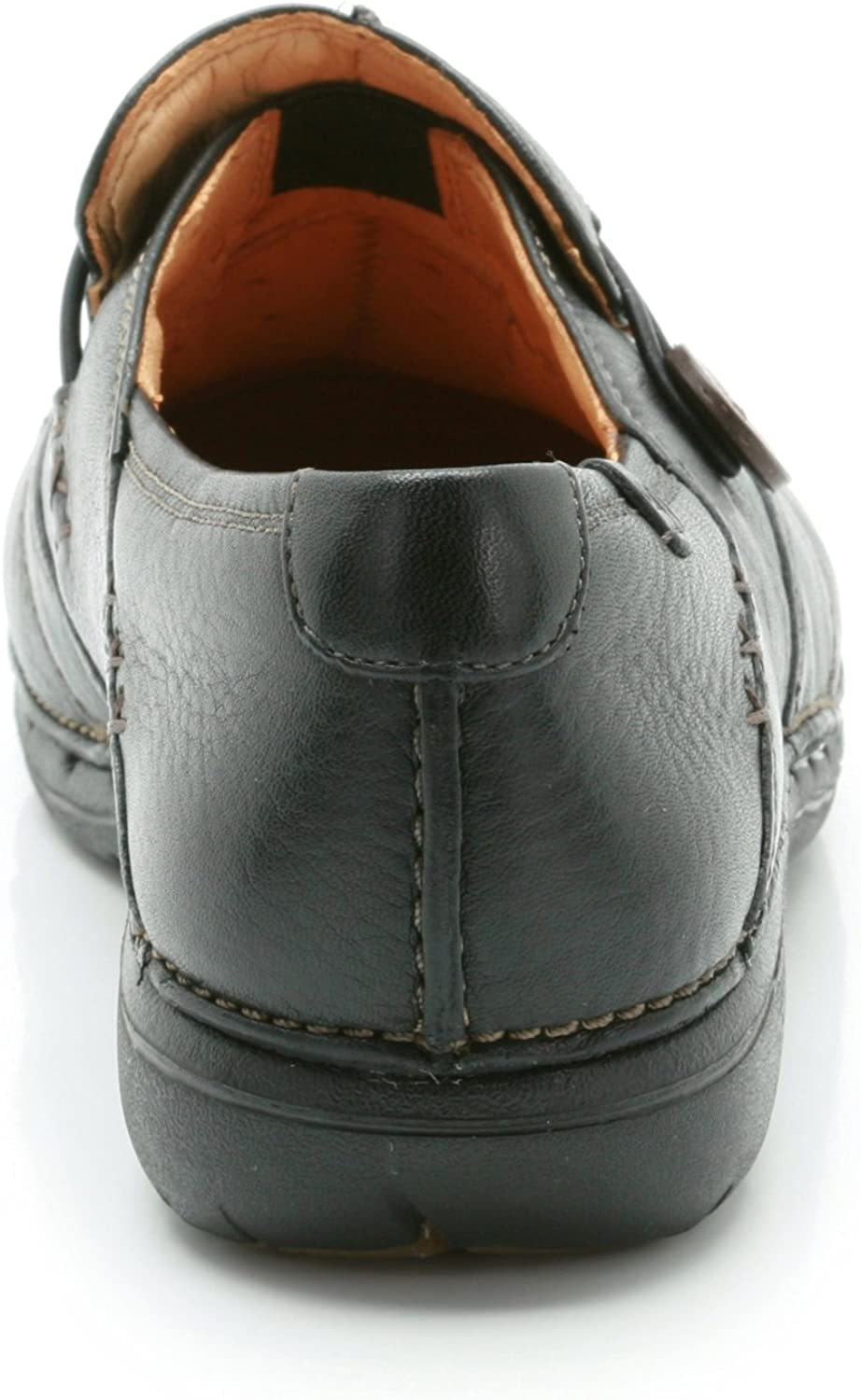Clarks Womens Slip-On Flats Shoes Un Loop Black Leather