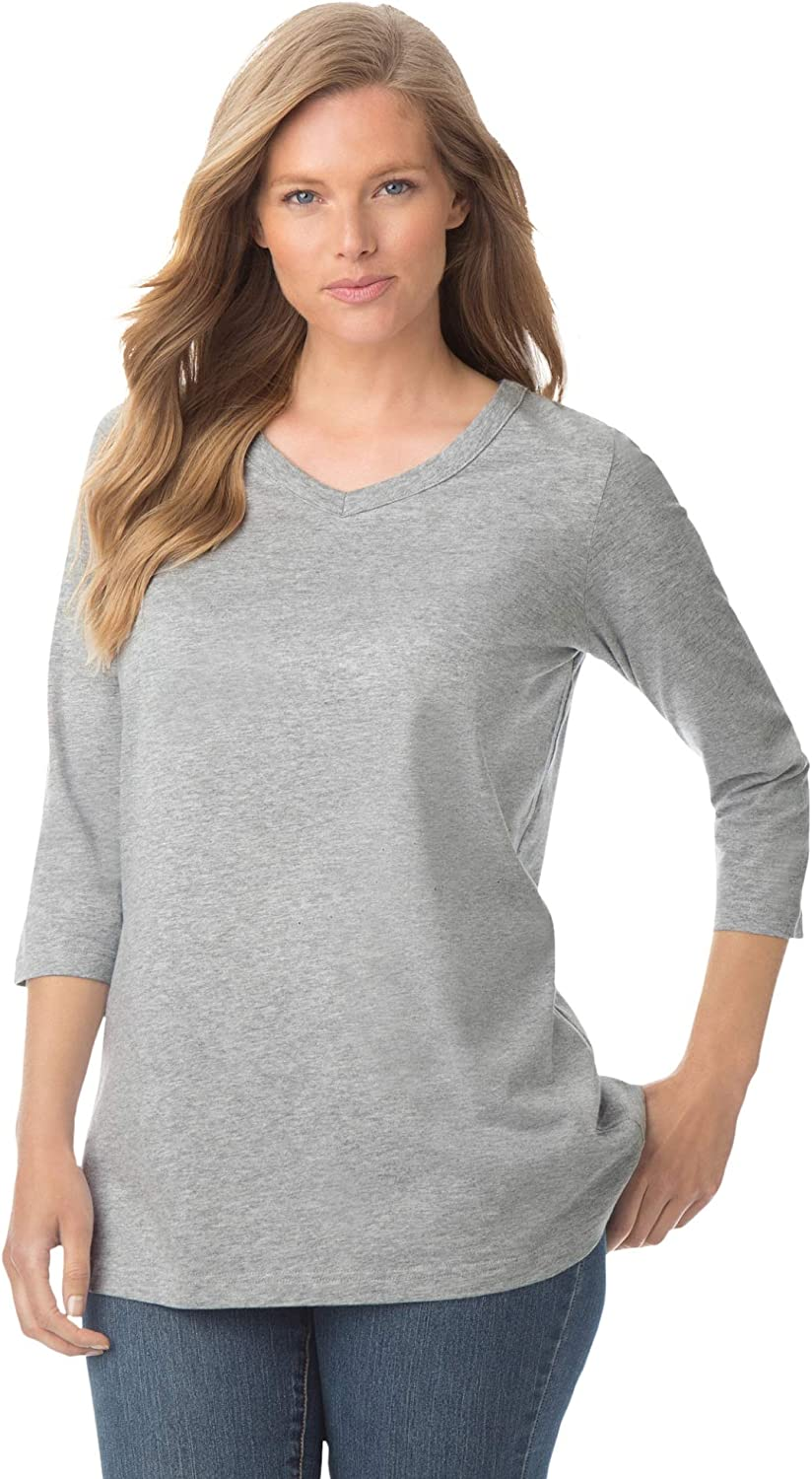 Woman Within Women's Plus Size Perfect Three-Quarter Sleeve V-Neck Tee Shirt
