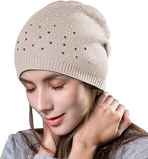 18d4ea0b4b2 Yidarton Women s Winter Knit Hat Beanie Hat Ladies Warm Wool Soft Cap  Winter Hats with Strass