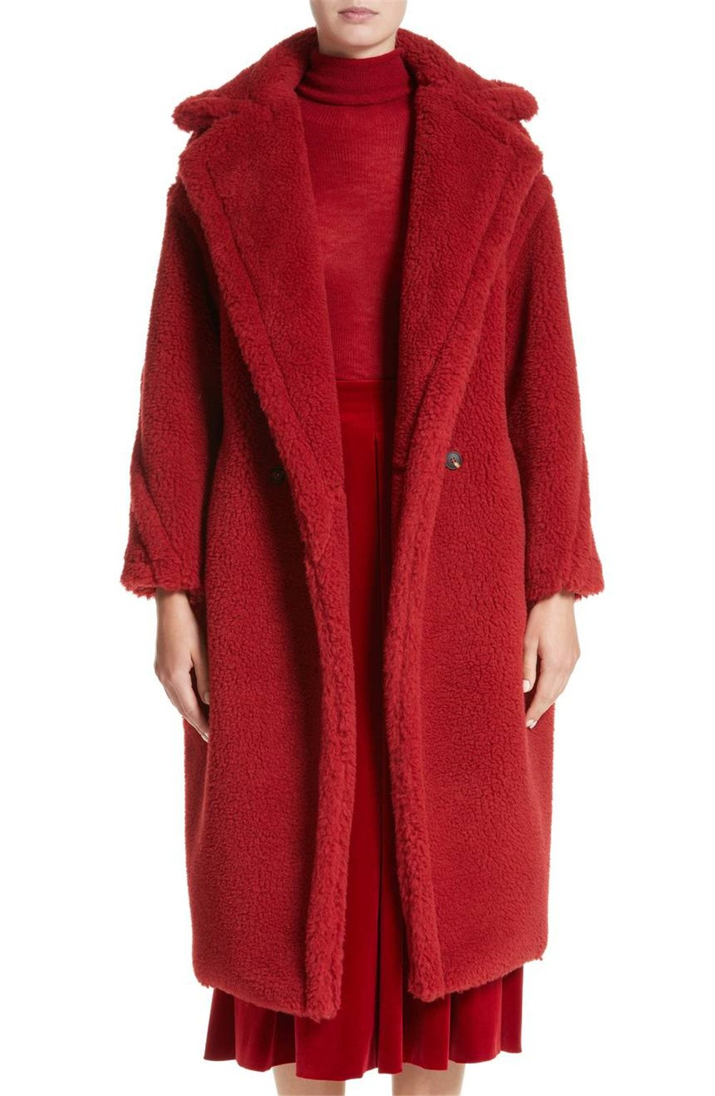 TEXAS, FOOTBALL COUNTRY Women's Luxury Long Warm Fuzzy Cozy Faux Fur Teddy Bear Coat - Red/L
