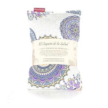 Saco Térmico de Semillas aroma Lavanda, Azahar o Romero tejido Mandalas Lilas (Romero,
