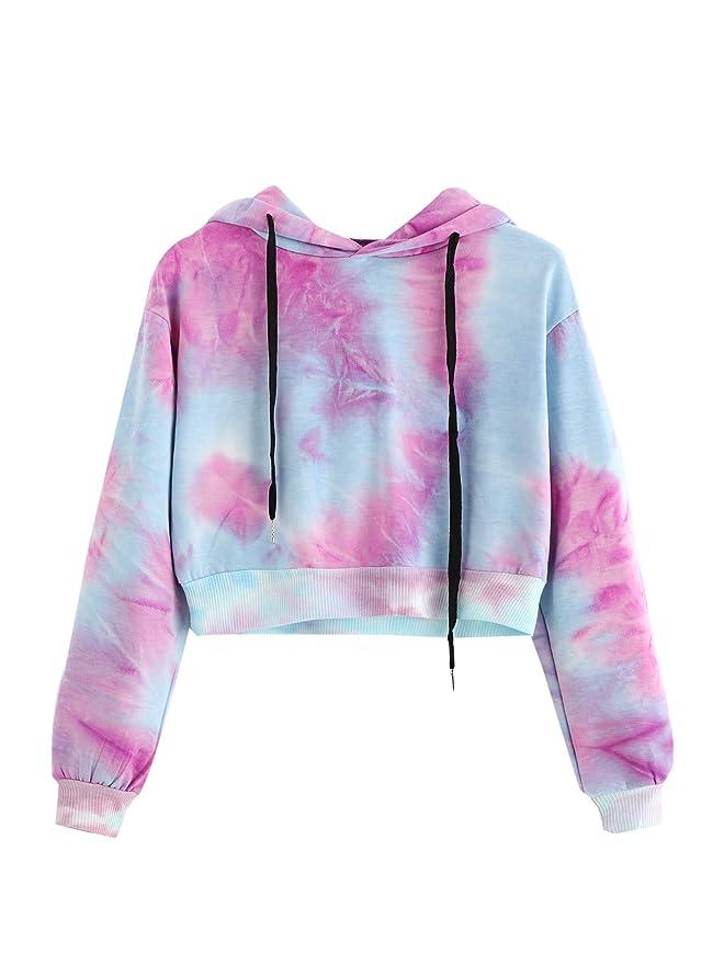 MAKEMECHIC Women's Long Sleeves Tie Dye Ombre Sweatshirt Crop Top Hoodies Light Blue M Best Crop Tops